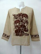L953 ELEPHANT SET DESIGN LONG SLEEVE HIPPIE THIN SHIRT BOHEMIAN GYPSY BOHO NEW