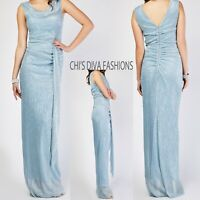 """Tall Plisse Lurex Ruched Maxi Dress Length = 62"""""""