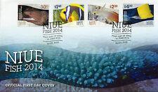 NIUE 2014 FDC Fish 4v Set Cover Moray Anemonefish Marine Dartfish Butterflyfish