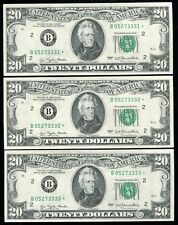 (3) CONSECUTIVE FR. 2072-B* 1977 $20 *STAR* FRN'S NEW YORK, NY GEM UNCIRCULATED