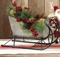 Big Christmas Silver Metal SLED Sleigh*Primitive/French Country/Farmhouse Decor