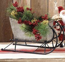 Big Christmas Silver Metal SLED Sleigh*Primitive/French Country/Farmhouse Decor