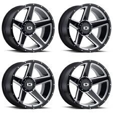 """Set 4 20"""" Vision 390 Empire Black Milled Wheels 20x9 5x5.5 5x150 12mm Ford 5 Lug"""