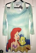 Nwt Disney Little Mermaid Ariel Flounder No Shoulder Long Sleeve Dress Size L