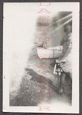 Unusual Vintage Photo Random Girl in Soft Blurry Motion w/ Boat 671878