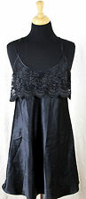 PRIVATE LUXURIES BLACK SILKY SATIN LACE FRONT DECOR LINGERIE GOWN NIGHTGOWN M/L