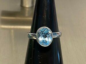 925 Silber Ring Blautopas ca. 3,18 ct. Gr 19 x Blautopas 10x8mm