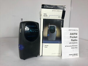 Optimus AM/FM Radio 12-799 Portable Pocket Sized Vintage VTG Black