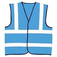 Hi Visibility Reflective Sky Blue Safety Vest Hi Viz Waistcoat