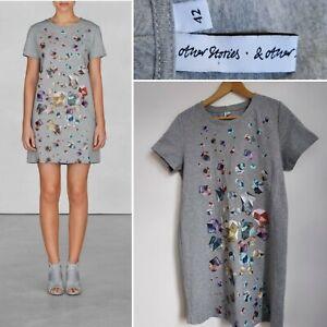 Ladies & OTHER STORIES Gem Print Grey Cotton Jersey Dress 42 Medium 14-16