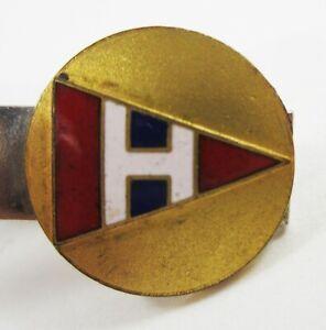 "Vintage ""H"" Monogram Yacht Club Burgee Pennant Tie Clip Enamel Gold Tone"