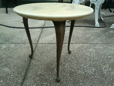 Vintage Round Marble Like & Brass Coffee Table / Lamp Table / Plant / Side Table
