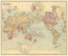 THE WORLD, Vintage Map Reproduction Rolled Premium CANVAS PRINT 29x24 in.
