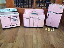 Vintage Signature Metal Pink Kids Toy Kitchen Set~Fridge, Sink, Stove/Oven, Food