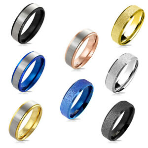 Ring Matt Diamantiert Damen Herren Edelstahl Band Ring Damenring Edelstahl