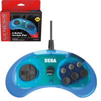 Retro-Bit Official Sega Genesis Controller 6-Button Arcade Pad - Clear Blue