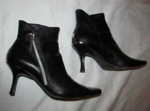DONALD J PLINER SARRA pointy toe zip back metal panel kitten heel boots 8