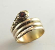Vintage Garnet Snake Band Ring European Hallmark 14k Yellow Gold Size 8.5