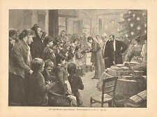 Charity, Children, Christmas, Gift Fabric, Vintage 1893 German Antique Art Print