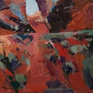 DJOSE TRUJILLO Oil Painting IMPRESSIONISM DESERT LANDSCAPE RED CONTEMPORARY ART