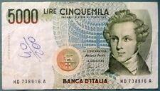 ITALY 5000 5 000 LIRE, P 111 c, ISSUED 04.01.1985, BELLINI, SIGN. FAZIO / AMICI