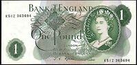 B303 FFORDE 1967 £1 BANKNOTE * K51Z 363694 * VF+ *
