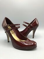 Carvela Patent Leather Heels Size 5 Uk 38 Eur Red Burgandy Mery Jane
