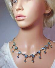 Vintage, turquesa collar de diamantes de imitación
