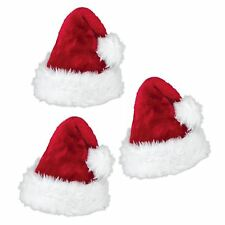 3 Plush Red Deluxe Christmas Hat Xmas Hat Santa Secret Santas Stocking Gift Idea