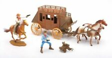 New Ray 54mm 1/32 Plastic Western Stagecoach w/ Horses And Cowboys Set NEW!