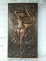 Nude Girl of East Vintage repousse hammered bas relief plaque Copper Embossed