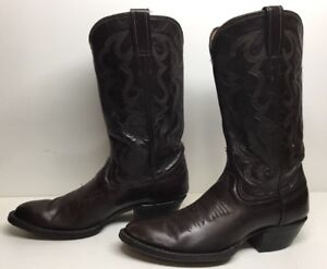 WOMENS UNBRANDED COWBOY LEATHER BROWN BOOTS SIZE 7 A