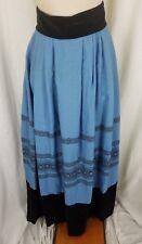 Vintage Woven Cornflower Blue Black Velvet trim Maxi Skirt Womens XS Winter Sash
