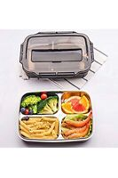 Bento Lunch Box Food Container W/4 Compartment Stainless Steel