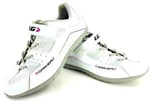 LG Louis Garneau Women's US 10.5 Cycling Spin Multi Shoes White Pink 4 Bolt EUC