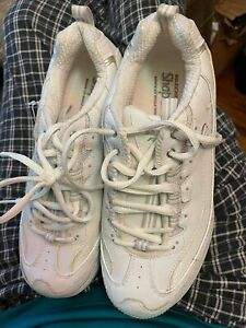 Sketchers Forme Ups Chaussures Femme Taille 8 Cuir Blanc Marche Fitness 11800