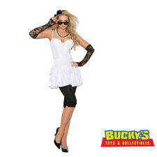 80's Rock Star Costume Sexy Dress Leggings Gloves Pearl Necklace Sunglasses 1980