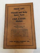 FORD 8 & 10 H.P 1938 Revised 1942 Chassis & Body Parts Price List