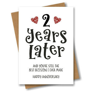 2nd Year Anniversary Card Husband Wife Boyfriend Girlfriend Engagement Fiancé 2
