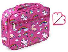 Keeli Kids Pink Unicorn Lunch Bag Lunch Box with Matching Sandwich Cutter