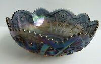 """Vintage Imperial Amethyst Carnival Glass Bowl Bellaire Hobstar Arches 9-3/4"""""""