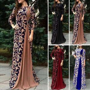 Ladies Arab Print Abaya Dubai Maxi Dress Long Sleeve Islamic Muslim Jilbab Robe