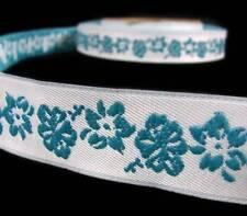 "1 Yd Blue Hibiscus Tropical Flower White Jacquard Woven Ribbon 7/8""W"