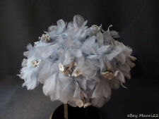 VINTAGE NICE DESIGN FABRIC & VELVET FLOWERS & LEAVES FASCINATOR HAT