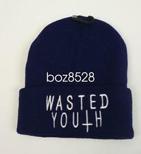 UNISEX MENS WOMANS KNIT KNITTED BEANIE RETRO COOL WASTED YOUTH BLUE