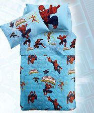 Copriletto Trapuntato Spiderman Warriors Azzurro 1 Piazza e Mezza Marvel Caleffi