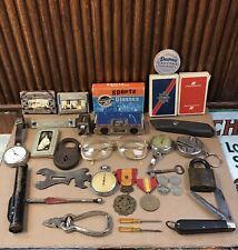 Vintage Junk Drawer Lot Pocket Watch Knife Coins Tools