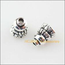 50 New Horn Flower Connectors Tibetan Silver Tone End Bead Cap 6mm