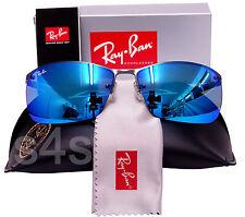 Ray Ban Gafas de sol de Metal Plana Semi Sin Montura Gunmetal _ azul _ Azul Espejo 3550 029/55