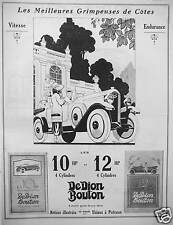 PUBLICITÉ 1923 AUTOMOBILE DEDION BOUTON MEILLEURES GRIMPEUSES CÔTES 10 HP 12 HP